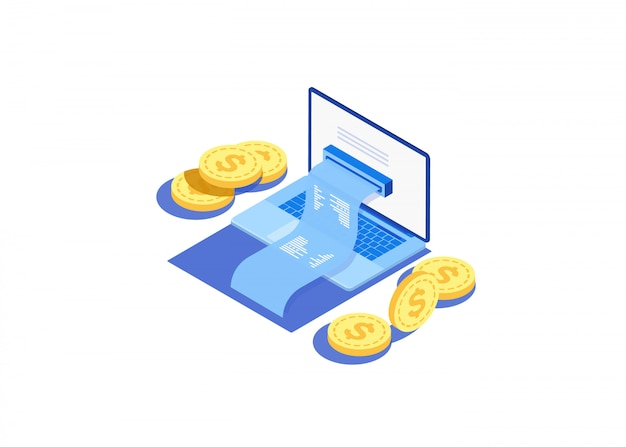 Concept de facture électronique et de banque en ligne, ordinateur portable avec un ruban à cocher. Vecteur Premium