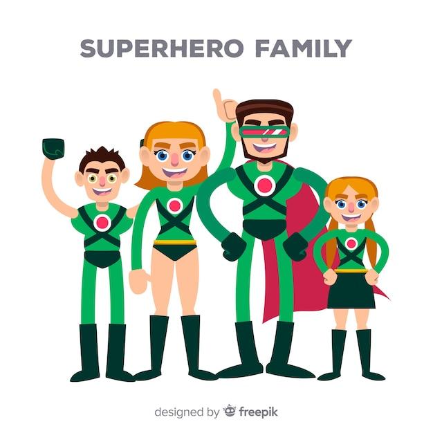 Concept de famille de super-héros plat Vecteur gratuit