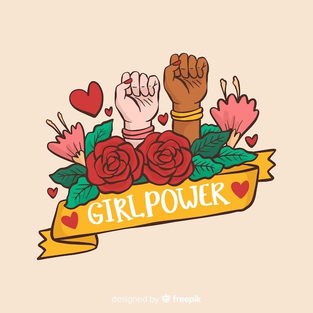 Concept de féminisme moderne dessiné à la main Vecteur gratuit