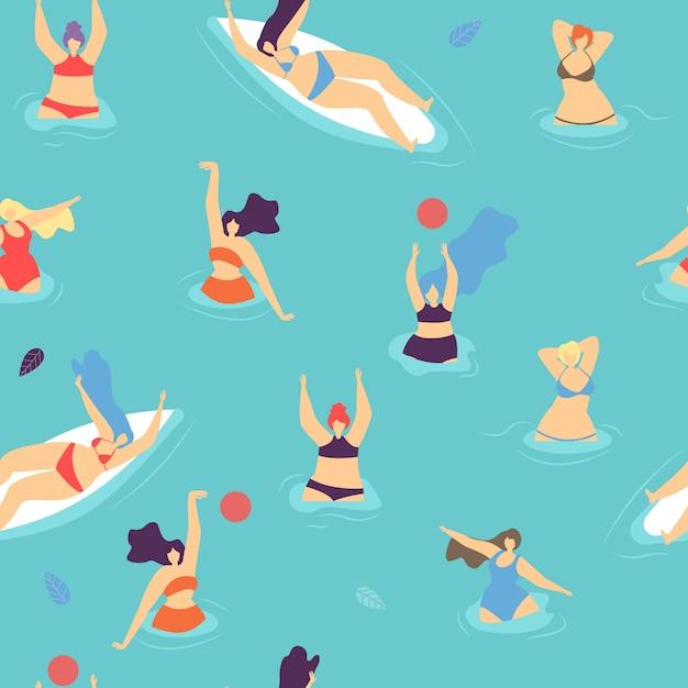 Concept de femme positive corps plat sans soudure Vecteur Premium
