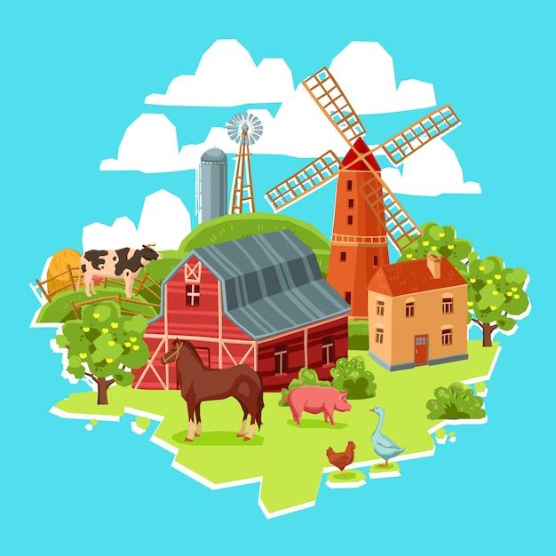 Concept de ferme multicolore Vecteur gratuit