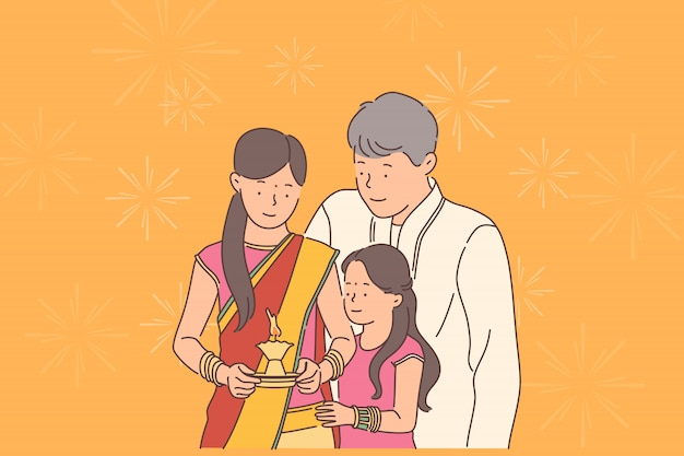 Concept De Festival De Diwali Ou Deepawali. Vecteur Premium