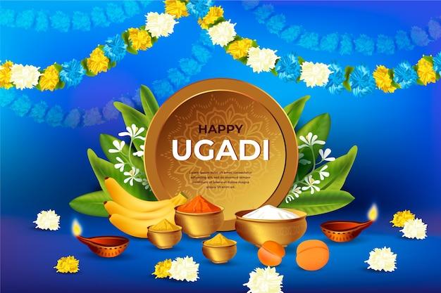 Concept De Festival Ugadi Heureux Réaliste Vecteur Premium