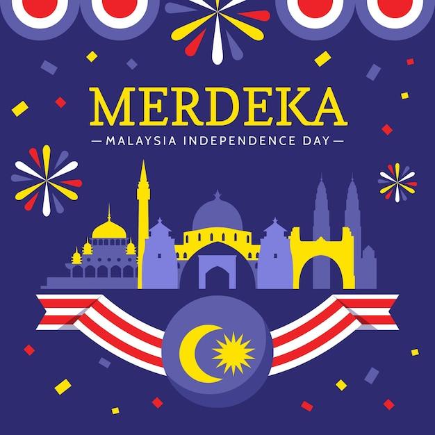 Concept De La Fête De L'indépendance De La Malaisie Vecteur gratuit