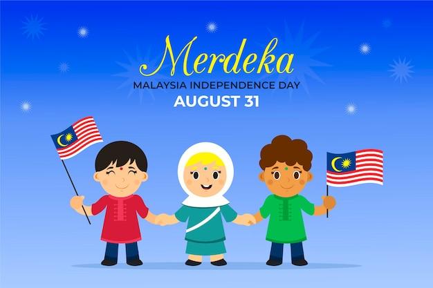 Concept De La Fête De L'indépendance De La Malaisie Vecteur Premium