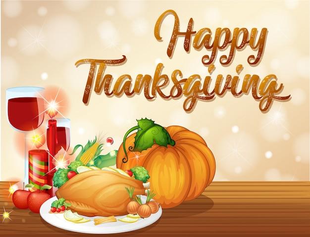 Concept De Fête De Thanksgiving Heureux Vecteur Premium