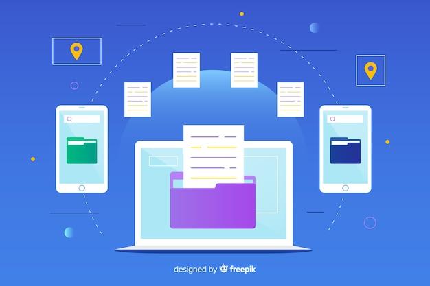 Concept de fichiers de transfert de page de destination Vecteur gratuit