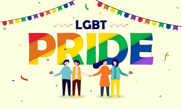 Concept de fierté lgbt avec un couple gay et lesbien tenant des drapeaux de la liberté. Vecteur Premium