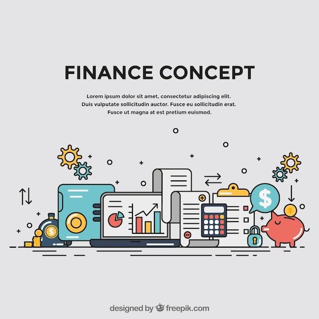 Concept financier avec des éléments colorés Vecteur gratuit