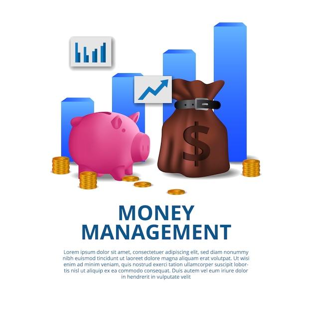 Concept financier de gestion de budget avec illustration de tirelire rose Vecteur Premium