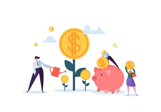 Concept Financier D'investissement. Les Gens D'affaires Augmentent Le Capital Et Les Bénéfices. Richesse Et épargne Avec Des Personnages. Gains D'argent. Vecteur Premium