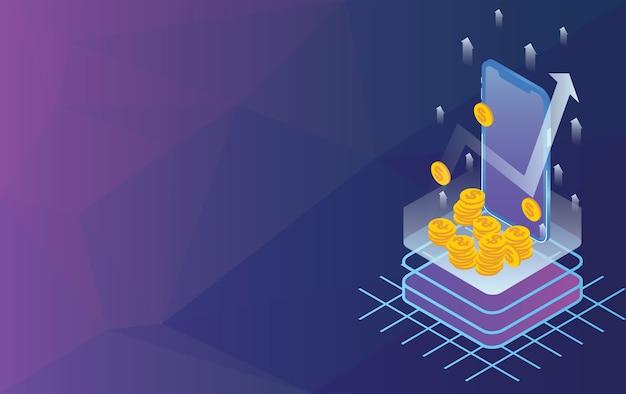 Concept de flèches avec pièce d'or smartphone et dollar Vecteur Premium
