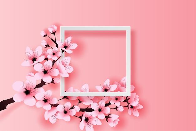 Concept de fleur de cerisier cadre blanc printemps saison Vecteur Premium