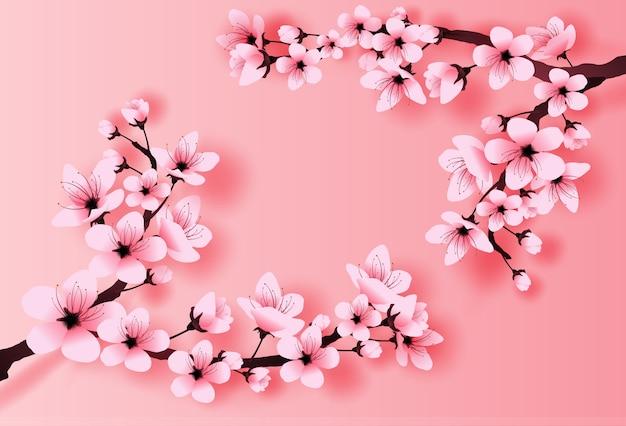 Concept de fleur de cerisier saison printemps Vecteur Premium