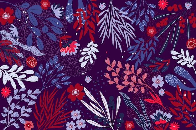Concept Floral Abstrait Design Plat Pour Papier Peint Vecteur gratuit