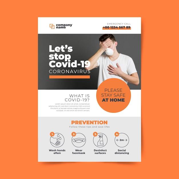 Concept De Flyer Informatif Sur Le Coronavirus Vecteur Premium