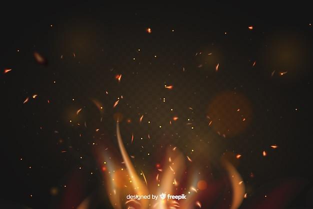 Concept de fond effet étincelles de feu Vecteur gratuit