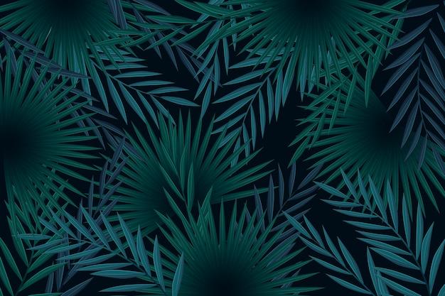 Concept De Fond De Feuilles Tropicales Sombres Réalistes Vecteur gratuit