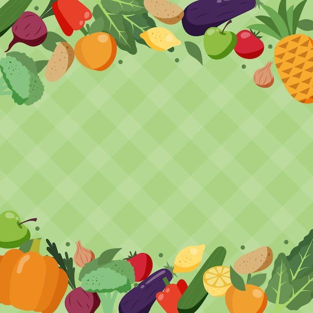 Concept De Fond De Fruits Et Légumes Vecteur gratuit