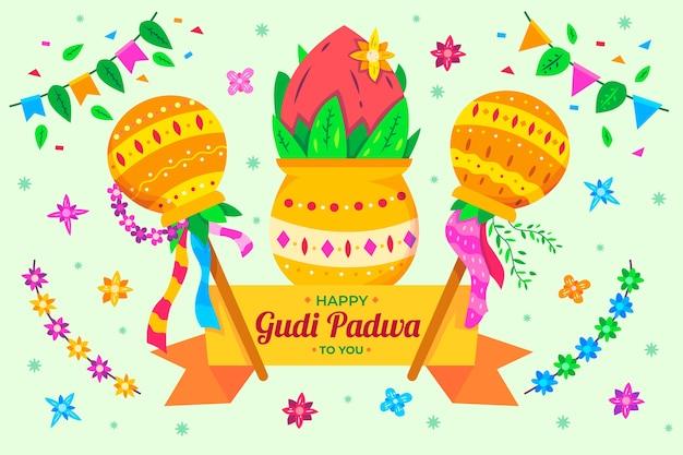 Concept De Fond Gudi Padwa Vecteur gratuit