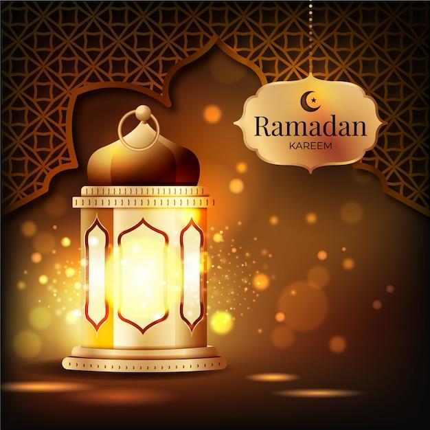 Concept De Fond De Ramadan Réaliste Vecteur Premium