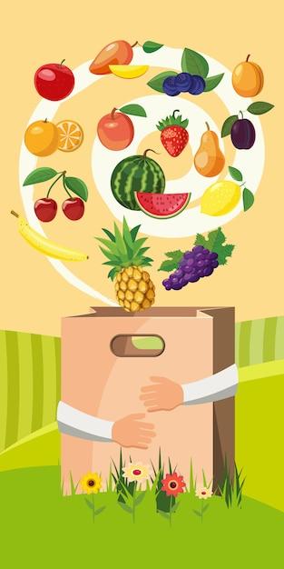 Concept de fond vertical de nourriture. Vecteur Premium