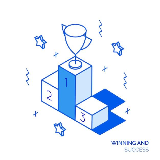 Concept gagnant isométrique Vecteur Premium