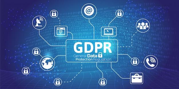 Concept général de réglementation de la protection des données. Vecteur Premium