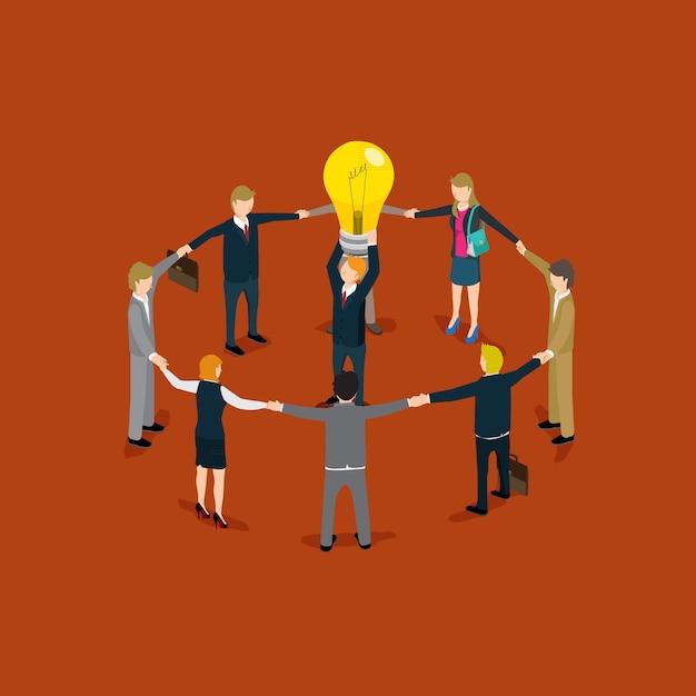 Concept de gens d'affaires idée concept d'isométrique Vecteur Premium