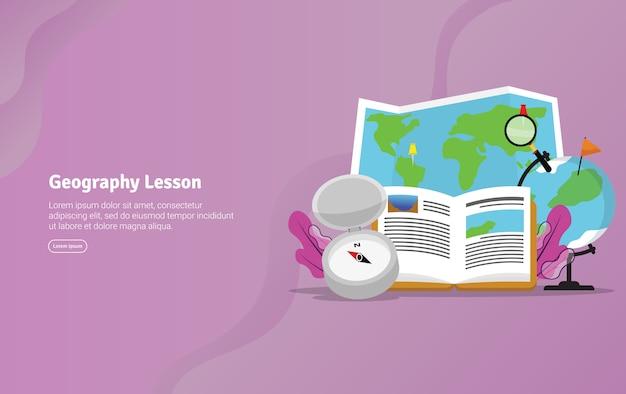 Concept de géographie illustration pédagogique bannière Vecteur Premium