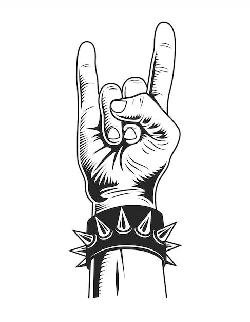Concept De Geste De Rock Monochrome Vintage Vecteur gratuit