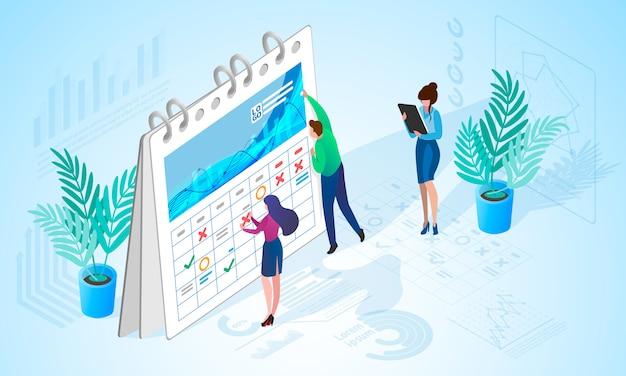 Le concept de gestion du temps en entreprise Vecteur Premium