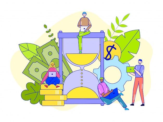 Concept De Gestion Du Temps, Illustration. Les Gens D'affaires Femme Homme Utilisent Rationnellement Les Heures De Travail Pour La Réussite Professionnelle. Vecteur Premium