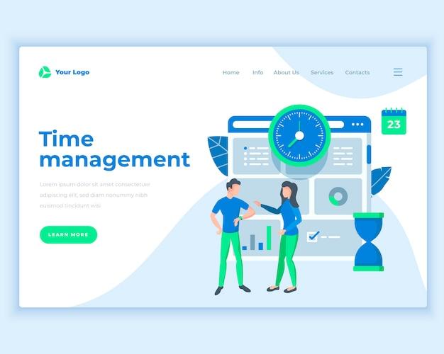Concept de gestion du temps de modèle de page de destination avec les gens de bureau. Vecteur Premium