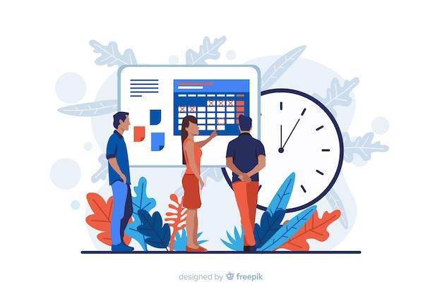 Concept De Gestion Du Temps Pour La Page De Destination Vecteur Premium