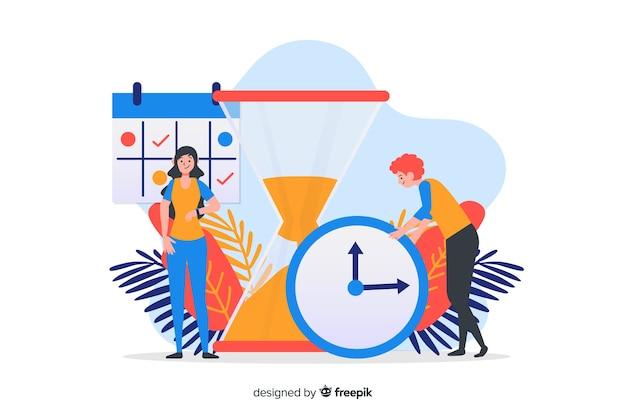 Concept de gestion du temps pour la page de destination Vecteur gratuit