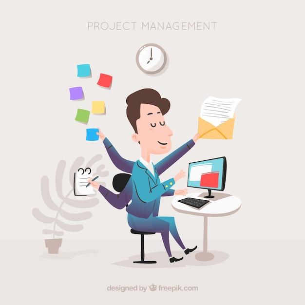 Concept De Gestion De Projet Plat Avec L'homme D'affaires Vecteur Premium