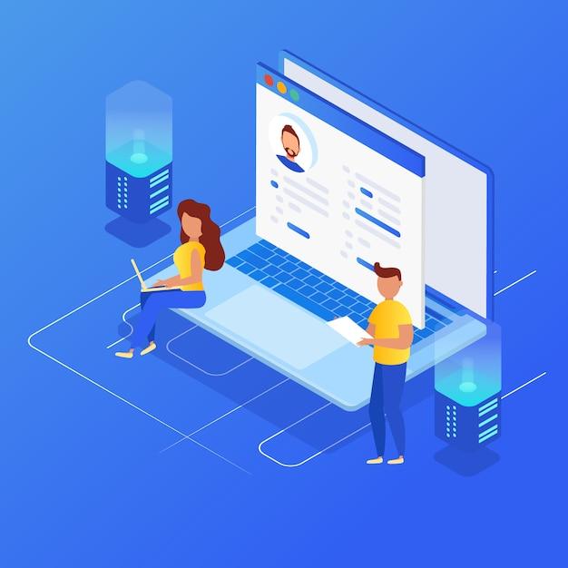 Concept de gestion de la relation client. Vecteur Premium