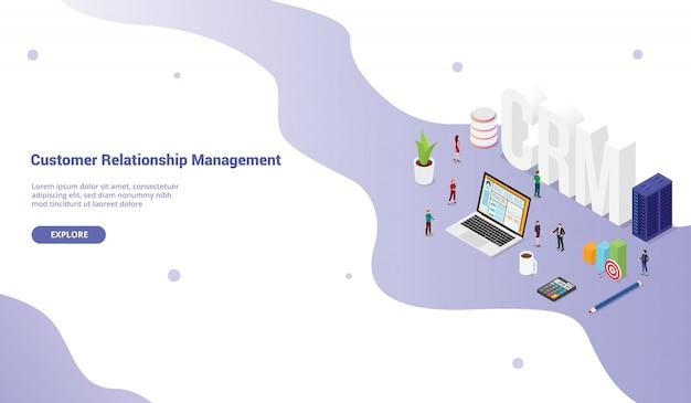 Concept De Gestionnaire De Relation Client Crm Pour Bannière De Site Web Ou Page D'accueil De Destination Vecteur Premium
