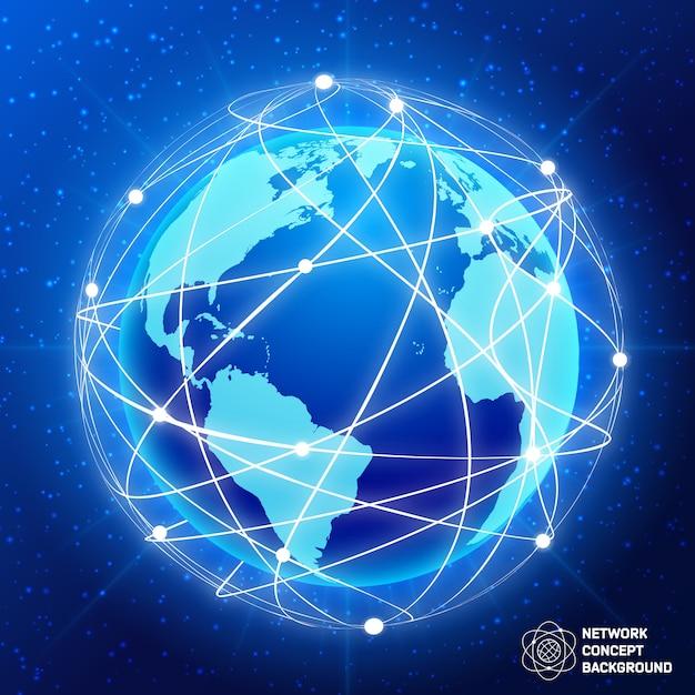 Concept de globe de réseau Vecteur gratuit