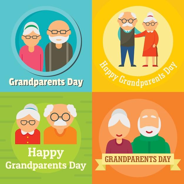 Concept de grand-mère jour grand-parents, style plat Vecteur Premium