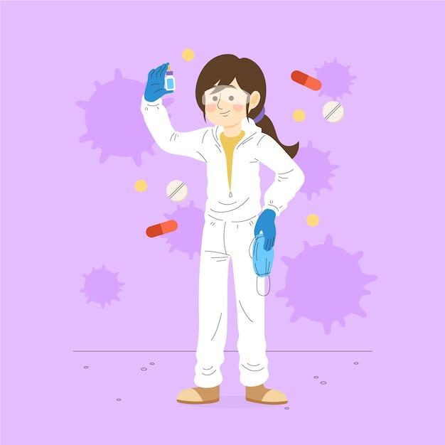 Concept De Guérison Du Virus Avec Une Femme Scientifique Vecteur gratuit