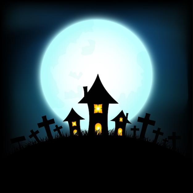 Concept d'halloween avec le château et nuit de pleine lune Vecteur Premium
