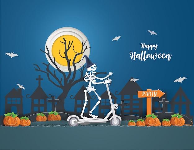 Le concept happy halloween avec des squelettes conduisant un scooter électrique va faire la fête le vendredi 13 au soir. Vecteur Premium