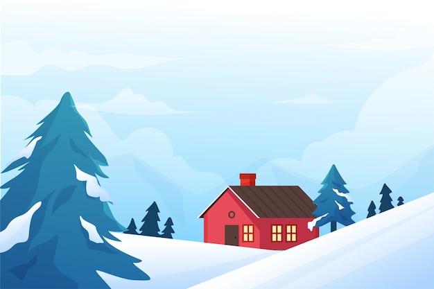 Concept d'hiver au design plat Vecteur gratuit
