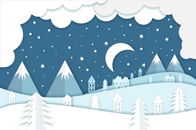 Concept d'hiver dans le style du papier Vecteur gratuit