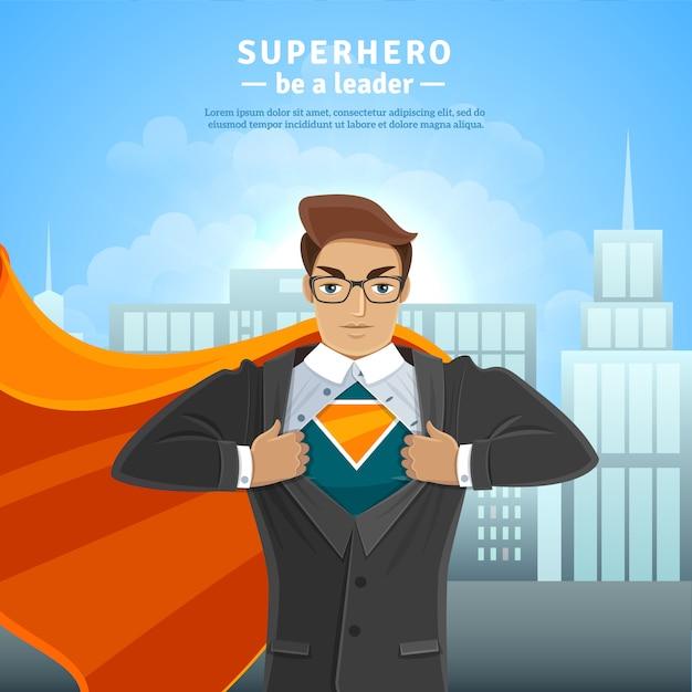 Concept D'homme D'affaires Super Héros Vecteur gratuit