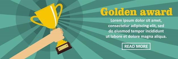 Concept horizontal de bannière de prix d'or modèle horizontal Vecteur Premium