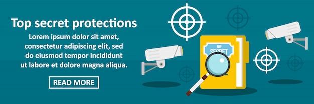Concept Horizontal De Bannière De Protections Top Secret Vecteur Premium