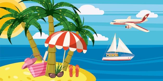 Concept horizontal de bannière de repos de mer. illustration de dessin animé de vecteur horizontal de bannière de repos de mer pour le web Vecteur Premium